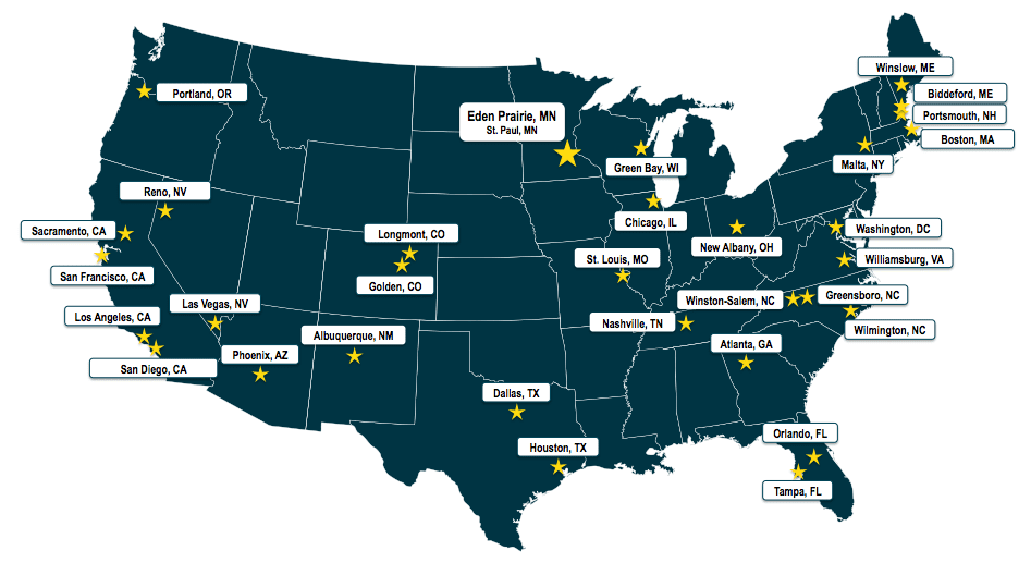 Wunderlich-Malec map of offices and facilities in the US
